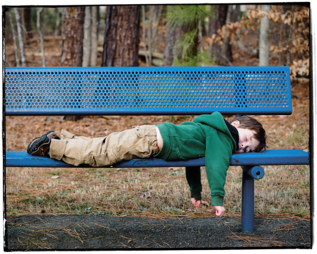 My son got a little exhausted playing at the park